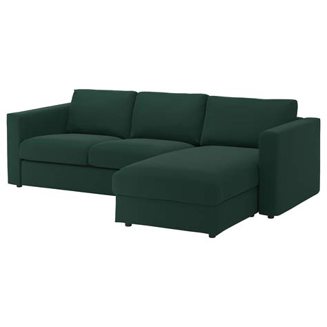chaise seat vimle 3 seat sofa with chaise longue gunnared dark green