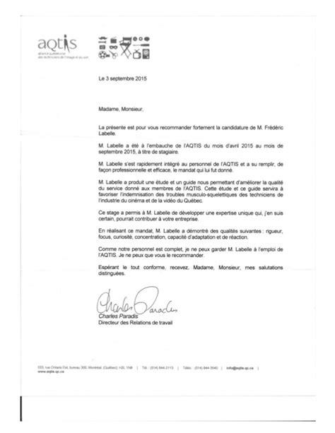 Lettre De Recommandation Linkedin Lettre De Recommandation De M Charles Paradis