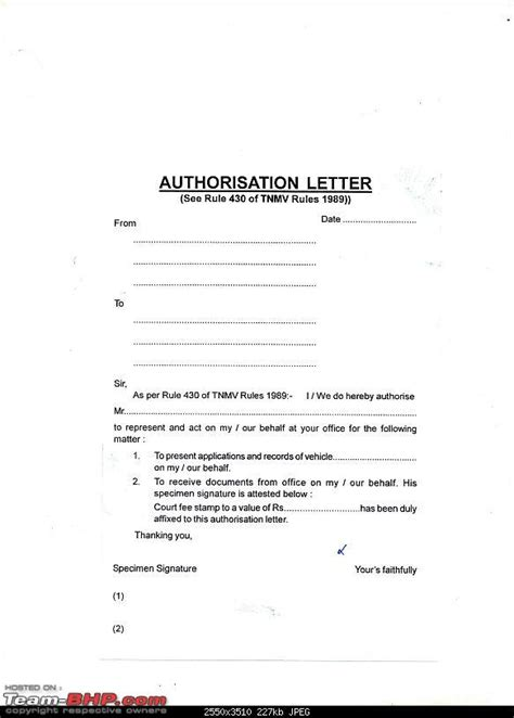 authorization letter rto authorization letter rto 28 images authorization