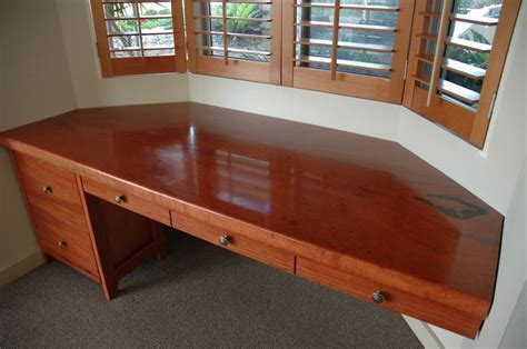 bay window desk custom red gum wood bay window desk by wild wood designs