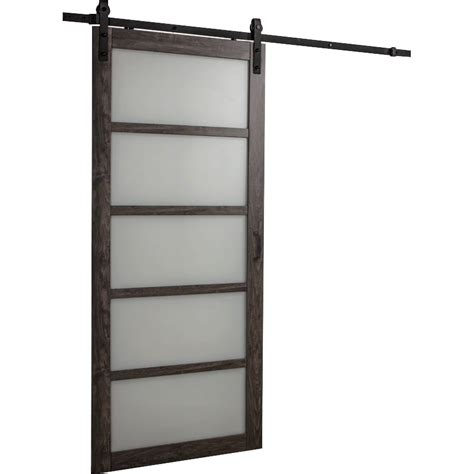 Frosted Glass Barn Door Erias Home Designs Continental Frosted Glass 1 Panel Ironage Laminate Interior Barn Door