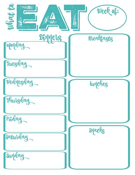 weekly meal planner printable free pantry makeover free printable weekly meal planner and