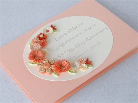 Wedding Anniversary Card Quilling by Paper Cards Quilled Anniversary Card