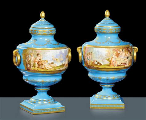 vasi sevres coppia di vasi in porcellana turchese sevres xix secolo