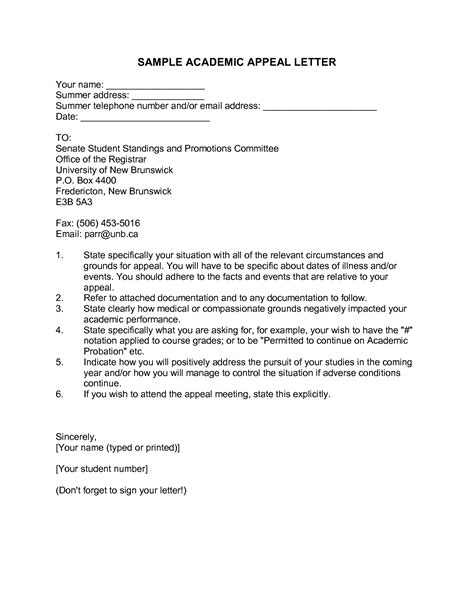letter of appeal against dismissal template academic appeal letter sle appeal letter for an