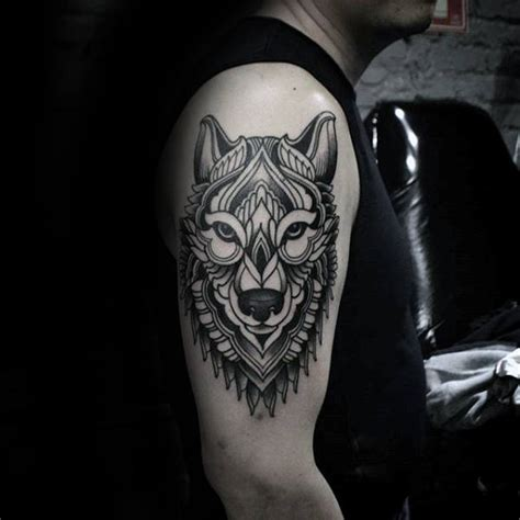 animal tattoo upper arm 90 geometric wolf tattoo designs for men manly ink ideas