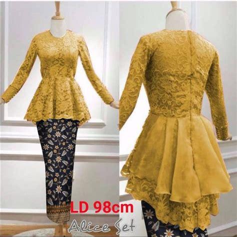 Kebaya Brukat Batik setelan baju kebaya muslim bahan brukat dan rok batik