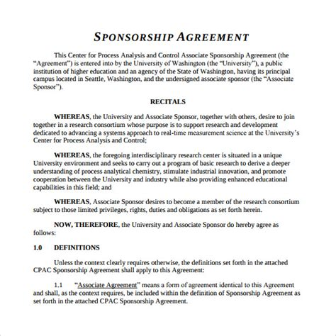 Sponsorship Agreement Letter Template Sle Sponsorship Agreement 12 Documents In Pdf Word