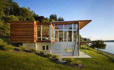 beside lake modern wooden house design olpos design