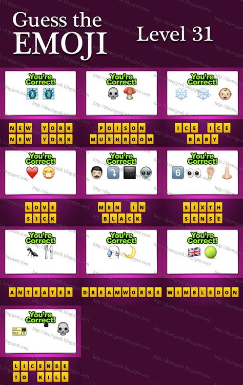 Lv 31 S guess the emoji level 31 answers and cheats doors