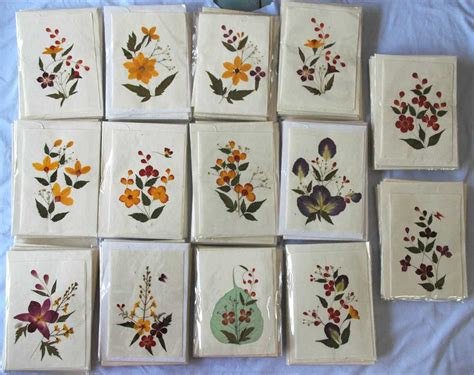 Handmade Cards With Flowers - real pressed flowers handmade blank note cards 5x7inches