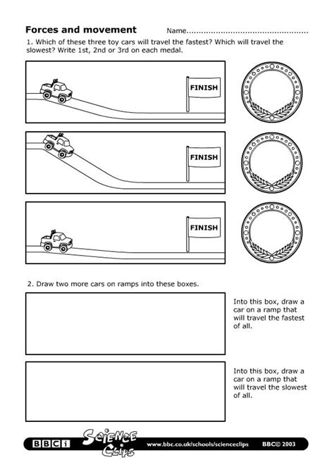 Forces And Motions Worksheets by Schools Science Forces And Movement