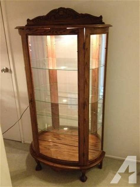 Curved Glass China Cabinet For Sale by Curved Glass Display Cabinet China Dolls Curio Etc