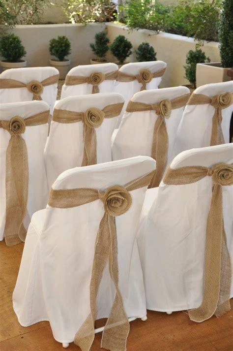 Chair Sashes Wedding by Ceremony Burlap Rosette Chair Sash 2066258 Weddbook
