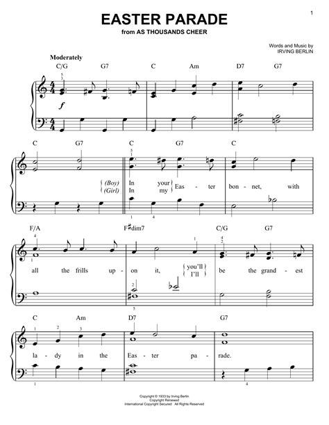printable lyrics to easter parade easter parade sheet music by irving berlin easy piano
