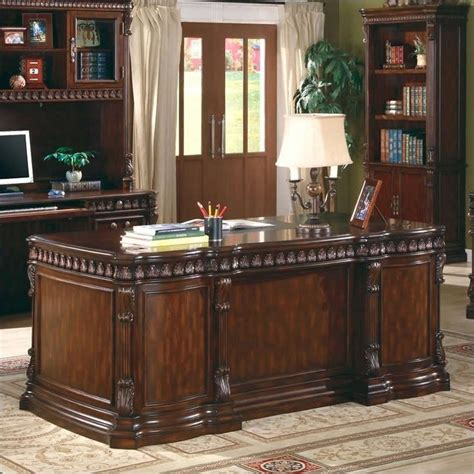 Coaster Union Hill Double Pedestal Executive Desk In Rich Executive Home Office Desk