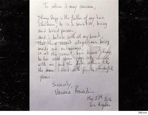 Letter Johnny Paradis Of Depp S 2 Children Writes Letter World News Gossip Fotp