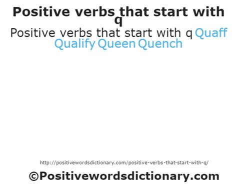 positive verbs that start with q verbs