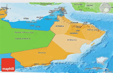 political map of oman political shades panoramic map of oman