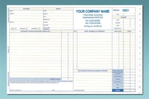 service job card template ncr service repair order invoice in mot essentials