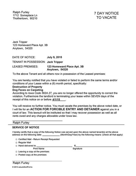 Iowa 7 Day Notice To Vacate Ez Landlord Forms Iowa Eviction Notice Template
