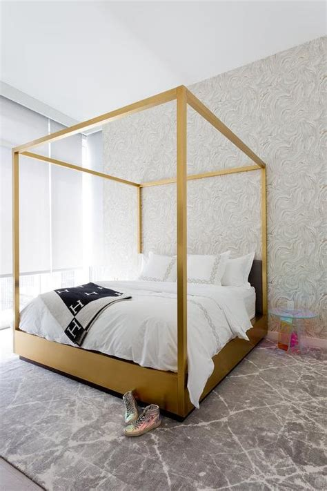gold bed canopy gold canopy bed with lucite table contemporary bedroom