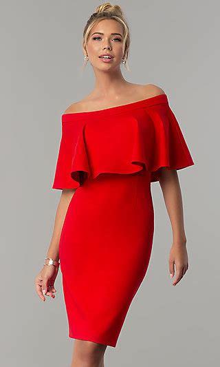 shoulder red short wedding guest dress