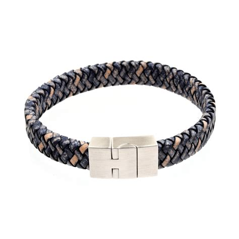 Handmade Mens Braided Leather Bracelets - s braided leather bracelet 12mm blue richbud
