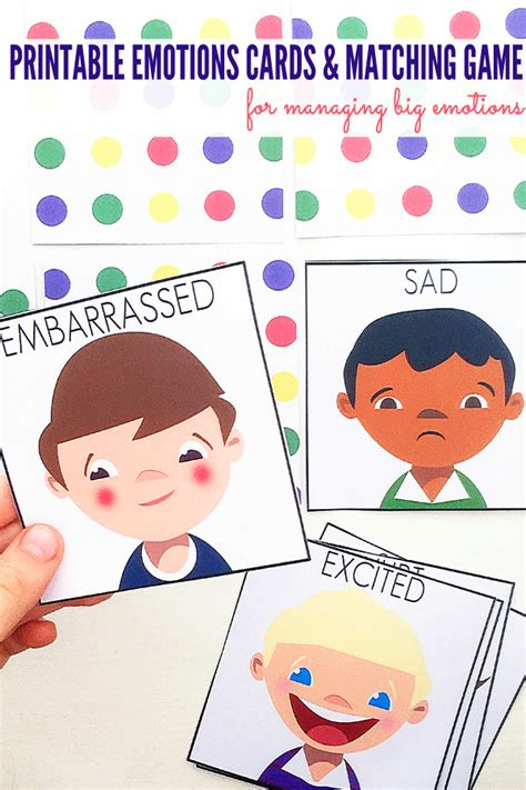 cards with children managing big emotions printable emotions cards matching