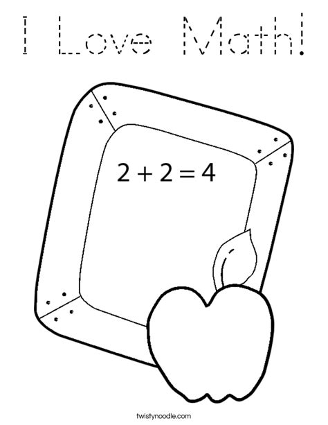 math block coloring pages i love math coloring page tracing twisty noodle