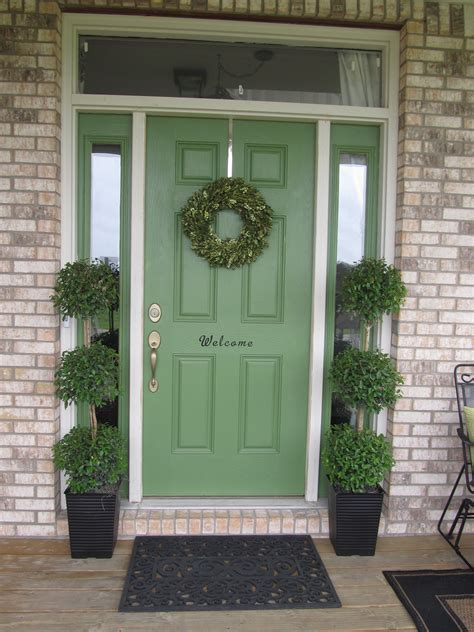 Green Exterior Door Springtime Front Porch Laurie Jones Home