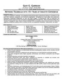 tech resume sles telecom technician resume exle