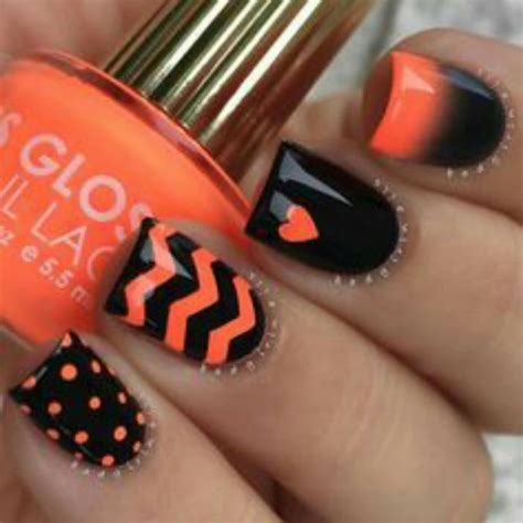 orange black design 60 stylish orange and black nail art design ideas
