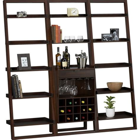 pottery barn or crate barrel for leaning bookshelves