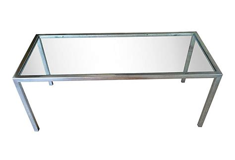 mid century chrome and smoked glass coffee table omero home