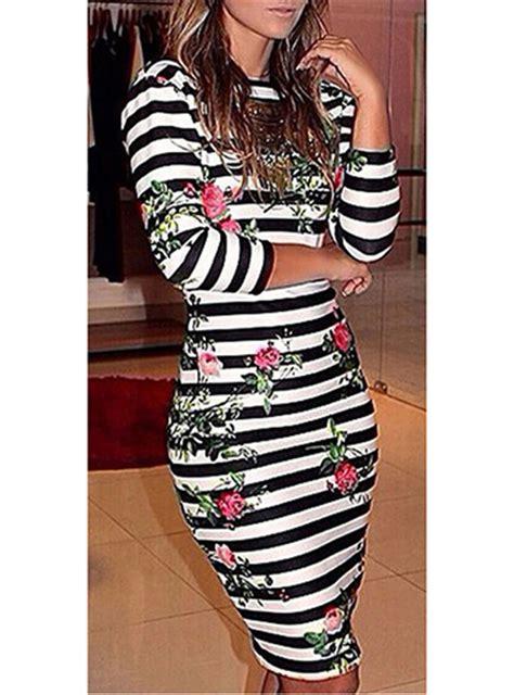 Stripes Flower Sabrina Dress white black striped floral dress backless knee length