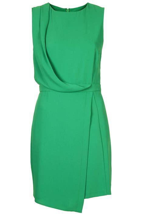 dress with drape lyst topshop sleeveless formal drape dress in green