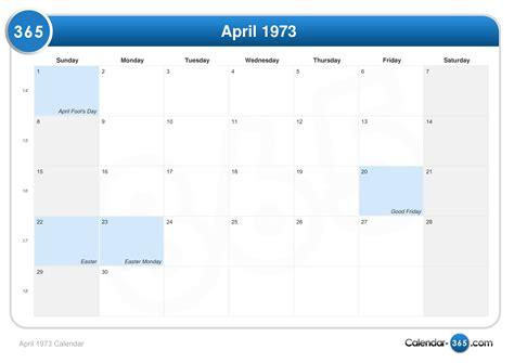 easter 1973 calendar april 1973 calendar