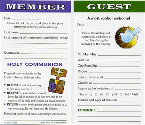 church membership card template church attendance cards church press inc