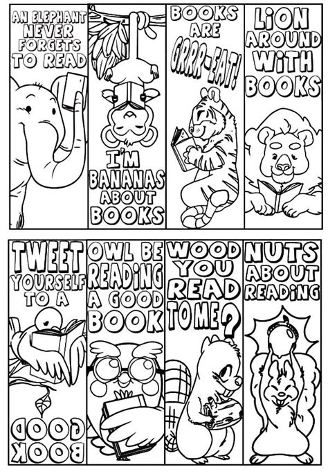 printable animal bookmarks to color animal theme bookmarks coloring pages best place to