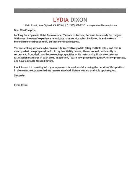 Crew Leader Cover Letter by Best Crew Member Cover Letter Exles Livecareer