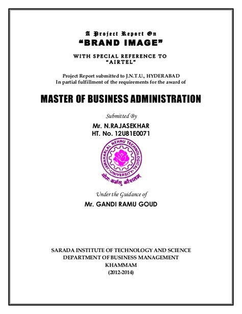 Mba Project by Mba Project Title Pages Karunaker