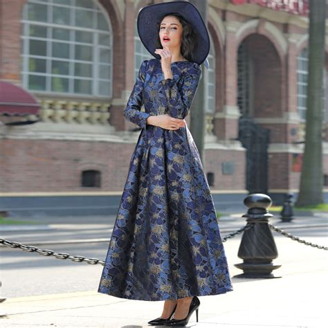 Promo 6965 Gold Maxi Maxi Dress Dress Muslim Murah Baju Muslim M 2017 s 3xl gold jacquard maxi dress fall v neck sleeve muslim