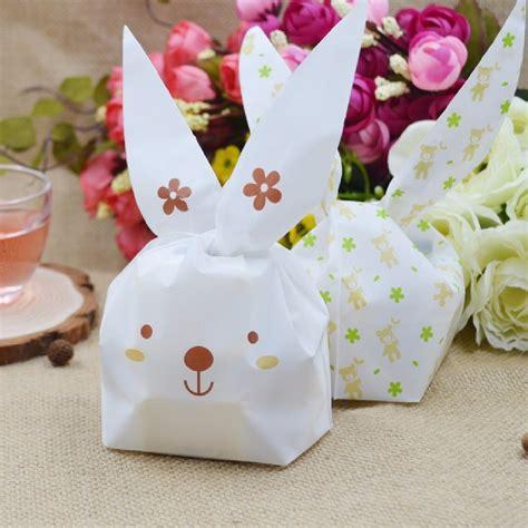 Rabbit Ear Cookie Bag 2016 20pcs lot rabbit ear cookie bags plastic biscuit packaging bag wedding gift