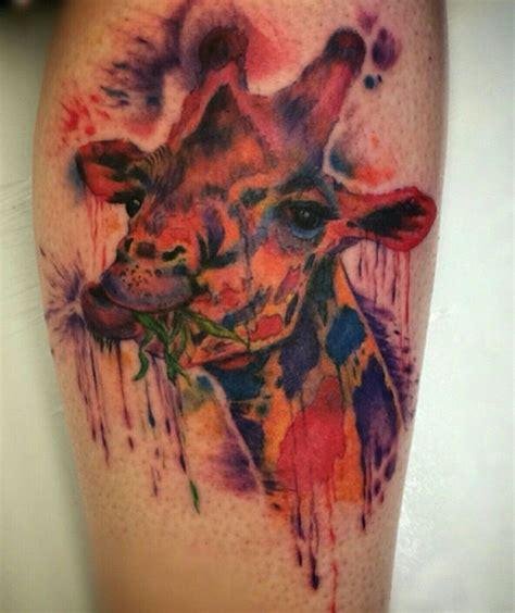 tattoo gainesville fl trash polka colorful giraffe on calf by josh