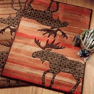 lodge moose terracotta rug