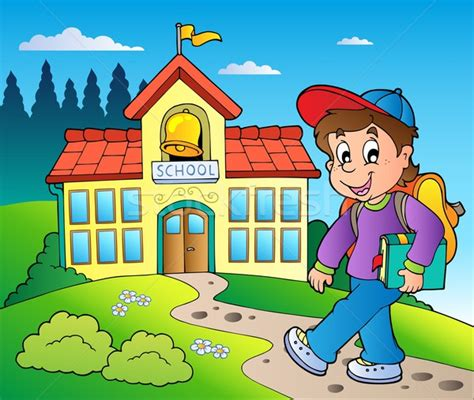 mi cartoon themes theme with boy and school building vector illustration