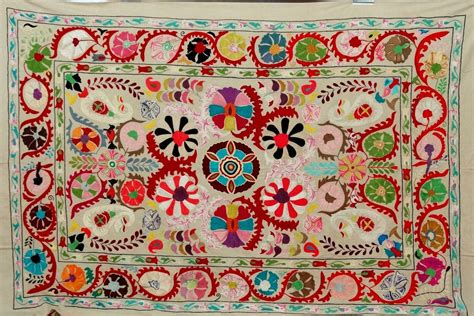 uzbek suzani embroidered textile used as throw wall hanging or indian suzani tapestry hand embroidered suzani wall