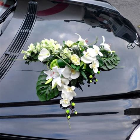 wedding car with flowers wedding car decorated with an artificial silk flower