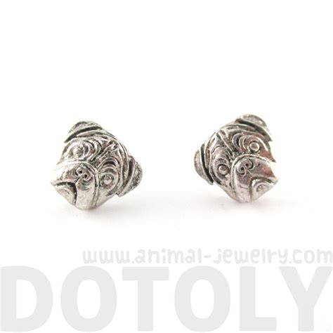 pug earrings 3d pug animal shaped stud earrings in silver 183 dotoly animal jewelry 183 the